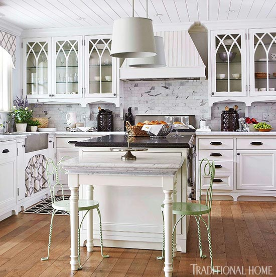 White Kitchen Cupboards distinctive kitchen cabinets with glass-front doors | traditional home