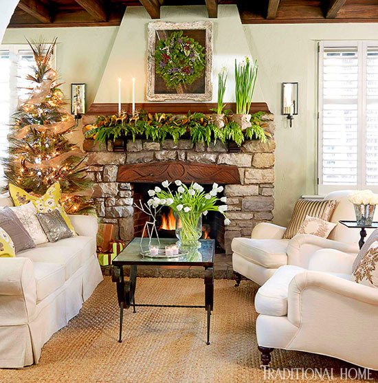 enlarge - Pictures Of Mantels Decorated For Christmas