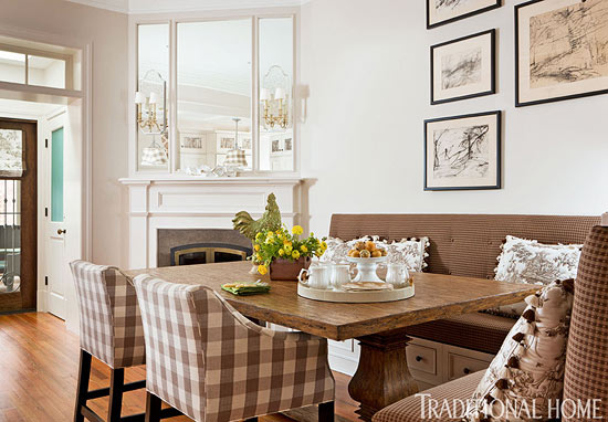 The Shorter Side Of Banquette Has An Extra Deep Cushion Making Corner A Cozy Spot