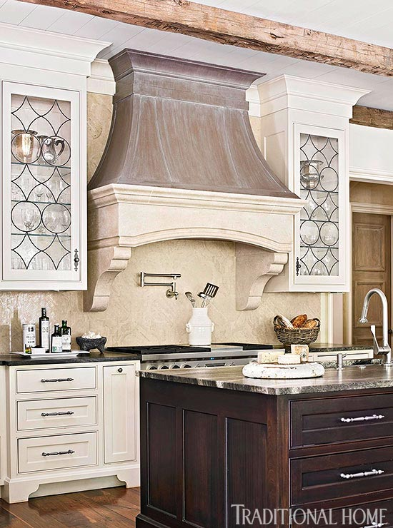 Distinctive kitchen cabinets with glass front doors for Beveled glass kitchen cabinets