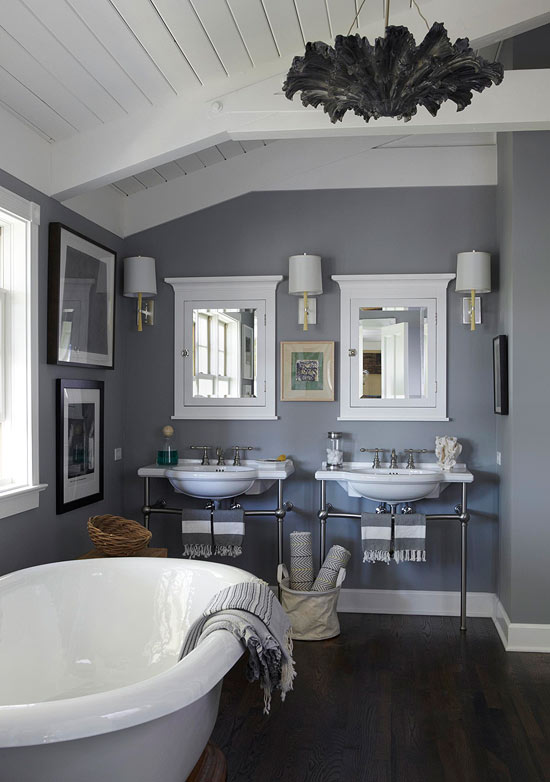 ENLARGE Dominique Vorillon Guest Bathroom In Shades Of Gray