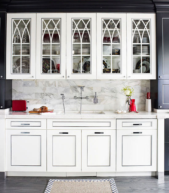 ENLARGE Distinctive Kitchen Cabinets with Glass Front Doors Traditional Home