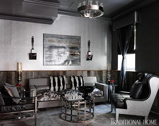 black and gray living room.  ENLARGE Decorating Gorgeous Gray Rooms Traditional Home