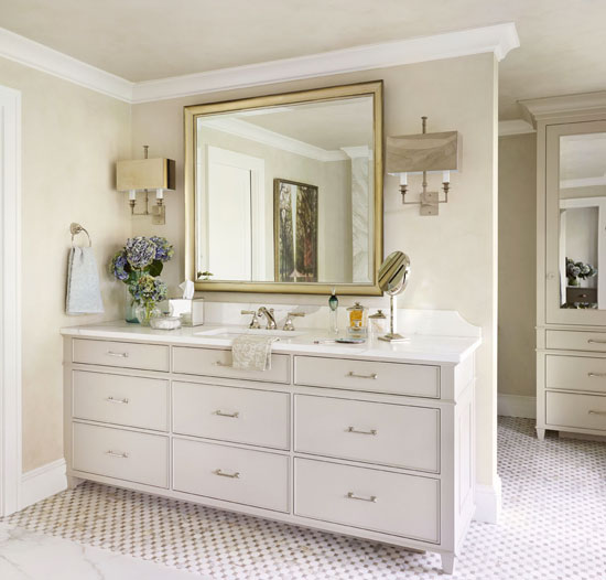 Decorating bath vanities traditional home - How to decorate a bathroom counter ...