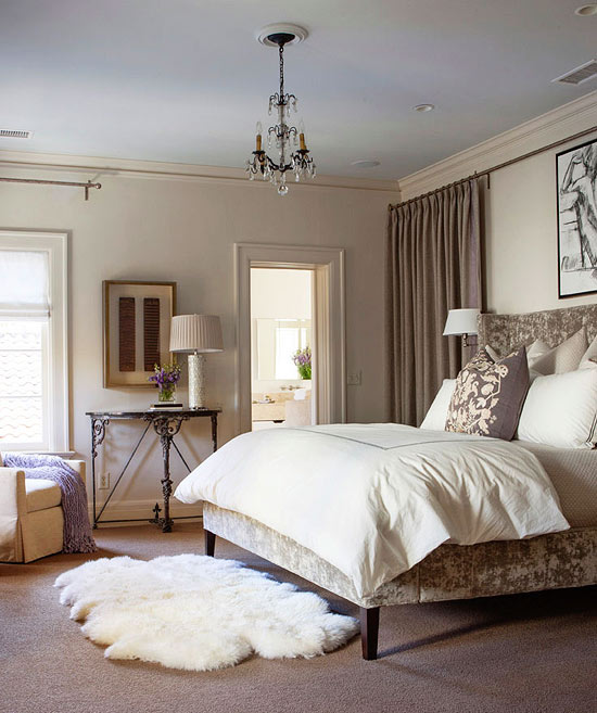 Gorgeous gray and white bedrooms traditional home - Beautiful bed room wall color ...