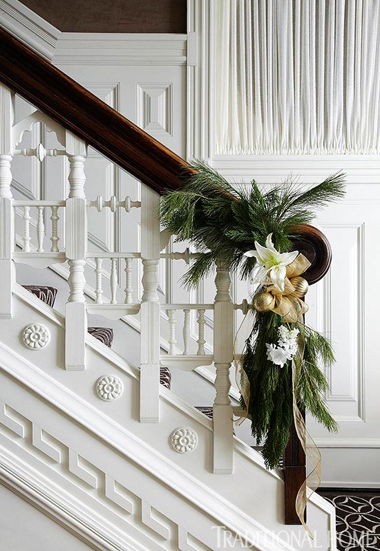 Festive Holiday Staircases and Entryways | Traditional Home on deck stairs designs, wall post designs, fence post designs, wood post designs,