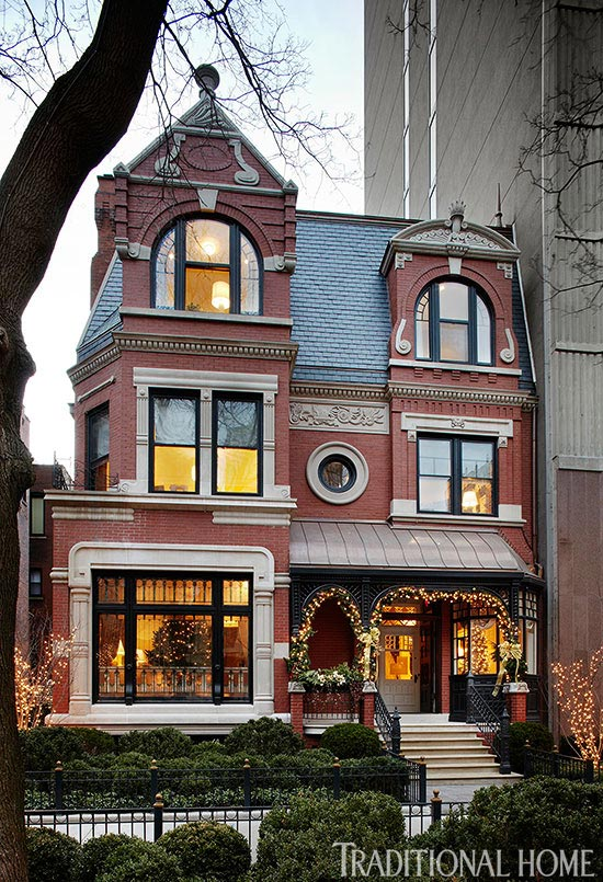 Elegant chicago holiday home traditional home for Brick victorian house