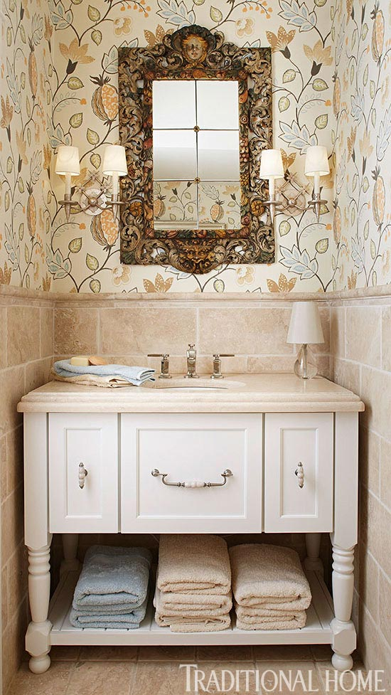 Create a smashing powder room traditional home for Traditional home decor
