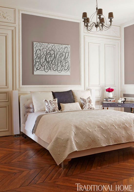 Colorful and romantic paris apartment traditional home Master bedroom romantic paint colors
