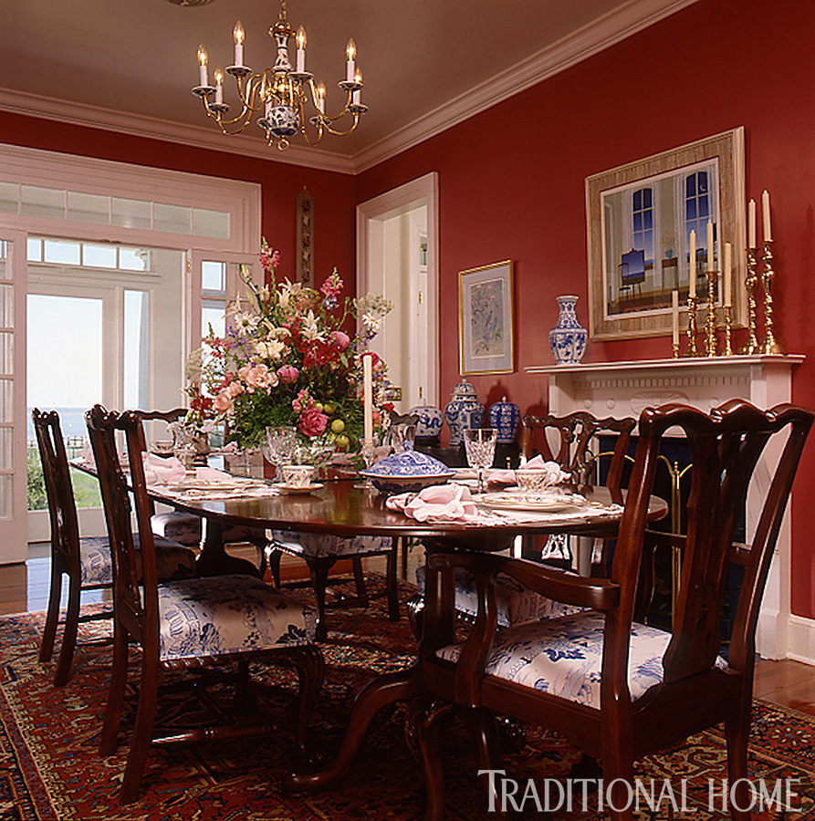+ ENLARGE. Rick Taylor. Dramatic Red Dining Room