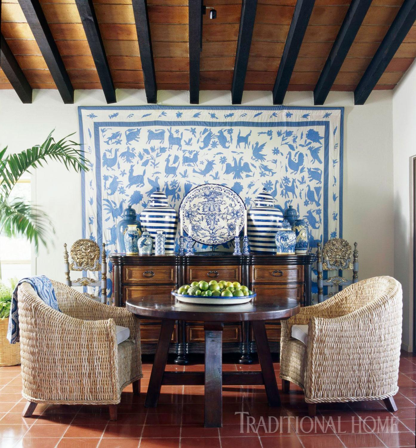 Pacific Hacienda In Blue And White Traditional Home