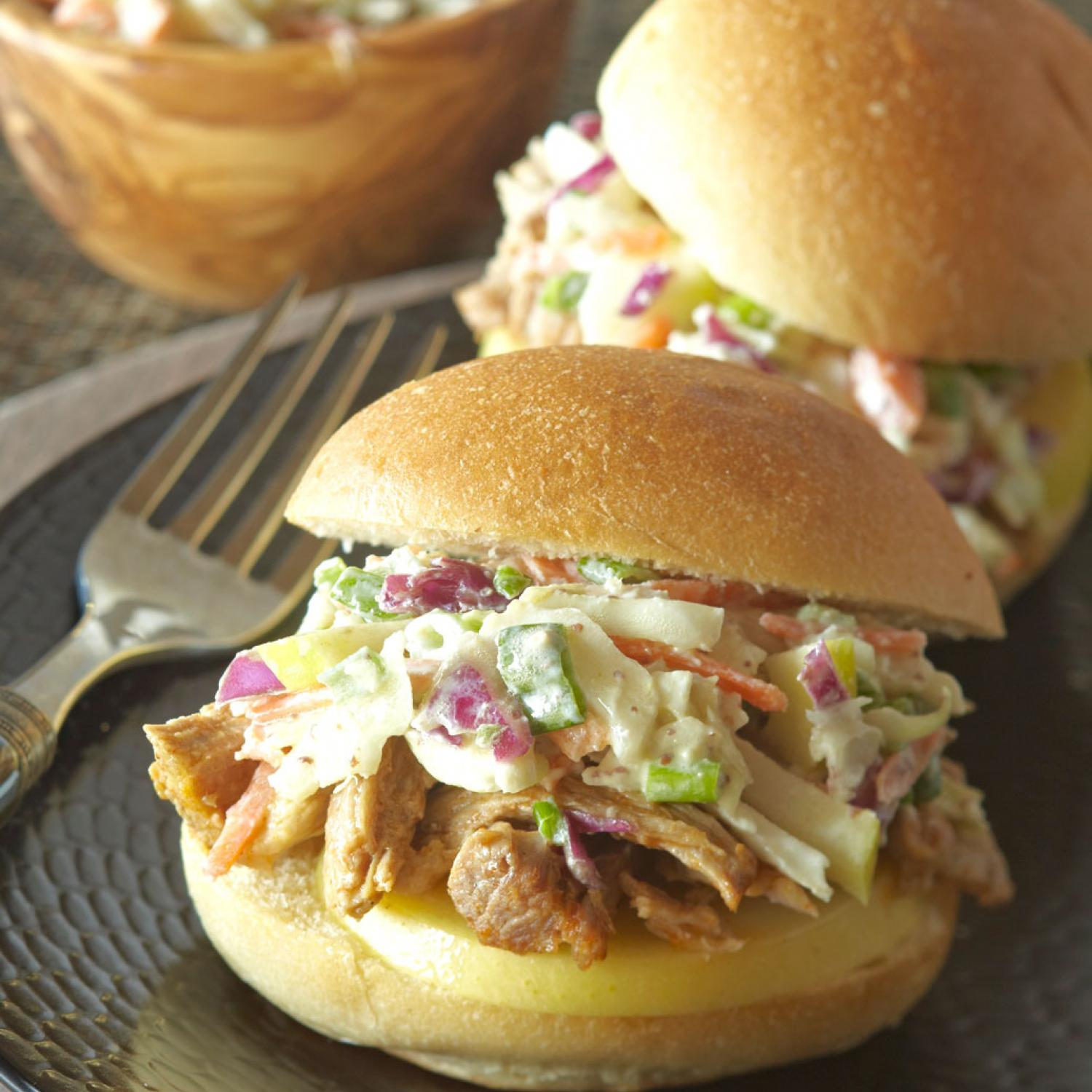 Pulled Pork And Apple Coleslaw Sandwiches Traditional Home