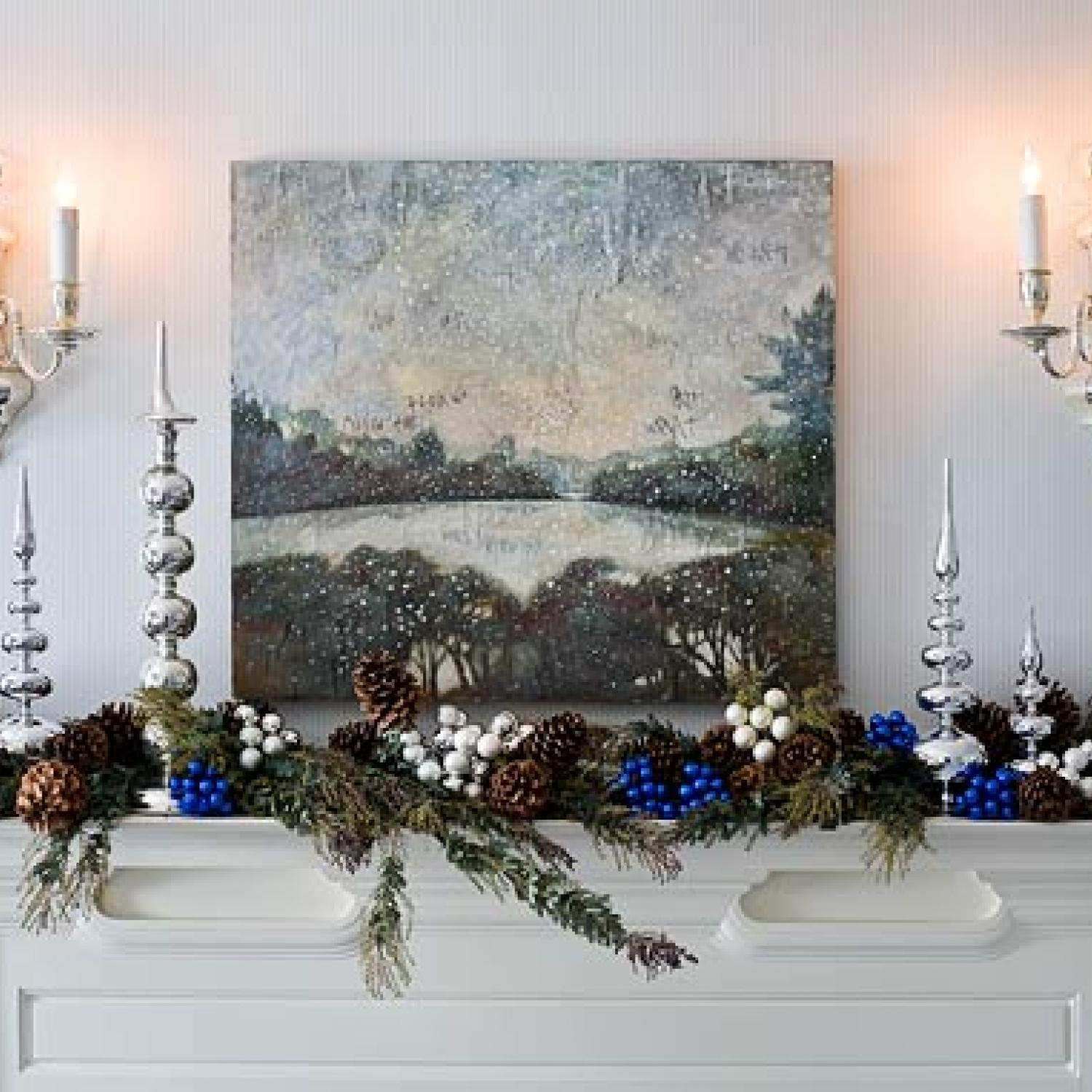holiday rooms in blue and white traditional home - Blue And White Christmas Decorations