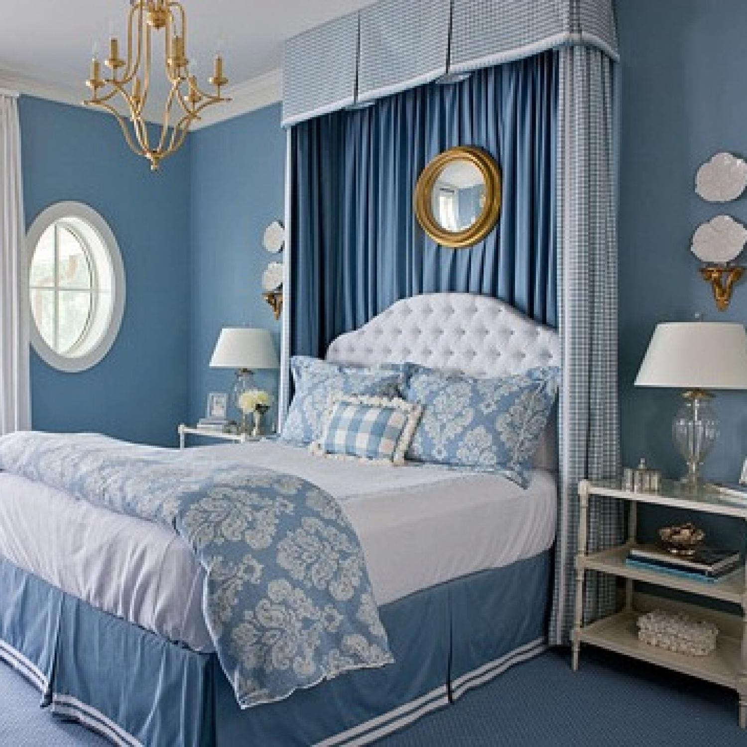 Beautiful blue bedrooms traditional home for Room decor websites