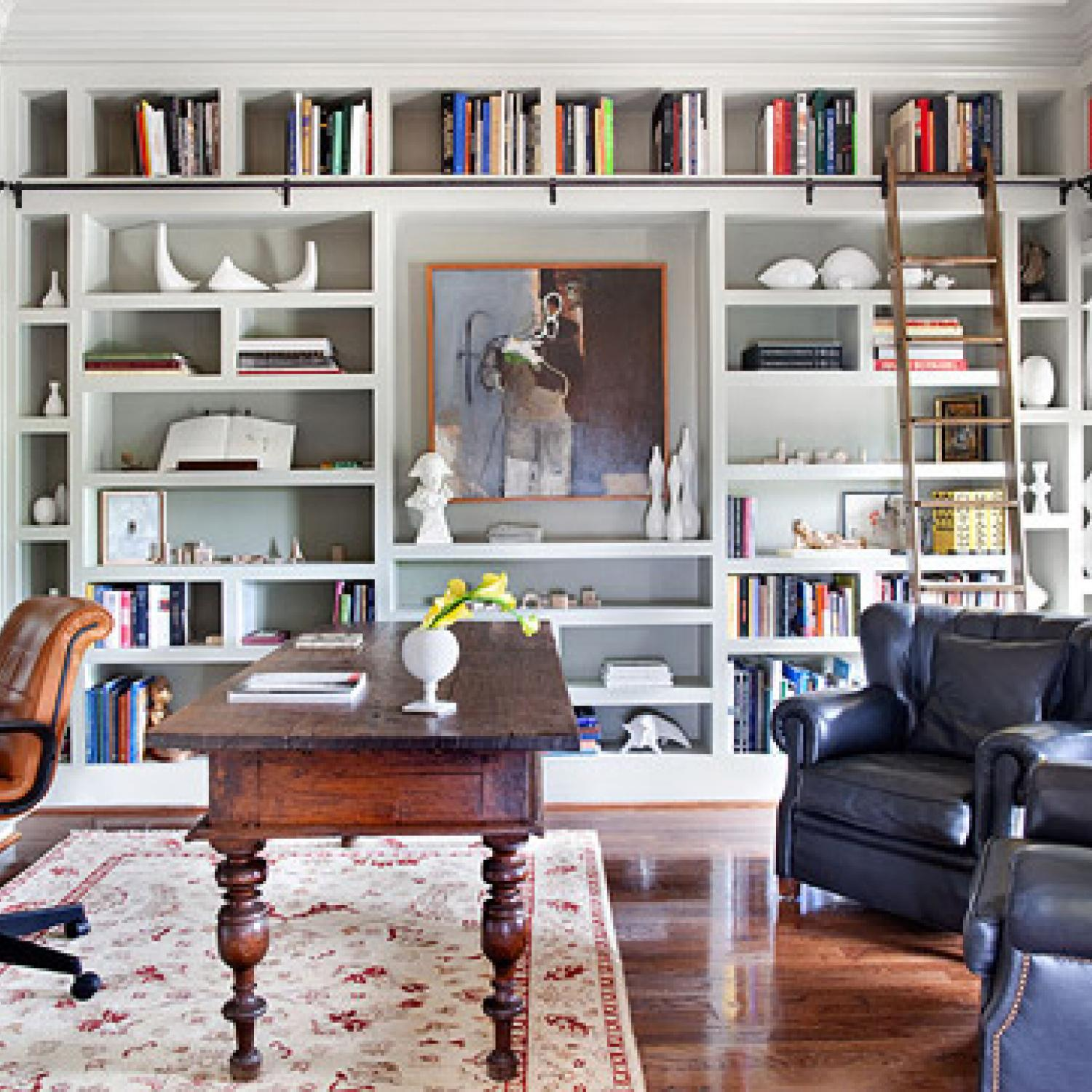 28 Dreamy Home Offices With Libraries For Creative Inspiration: Sophisticated Office Spaces