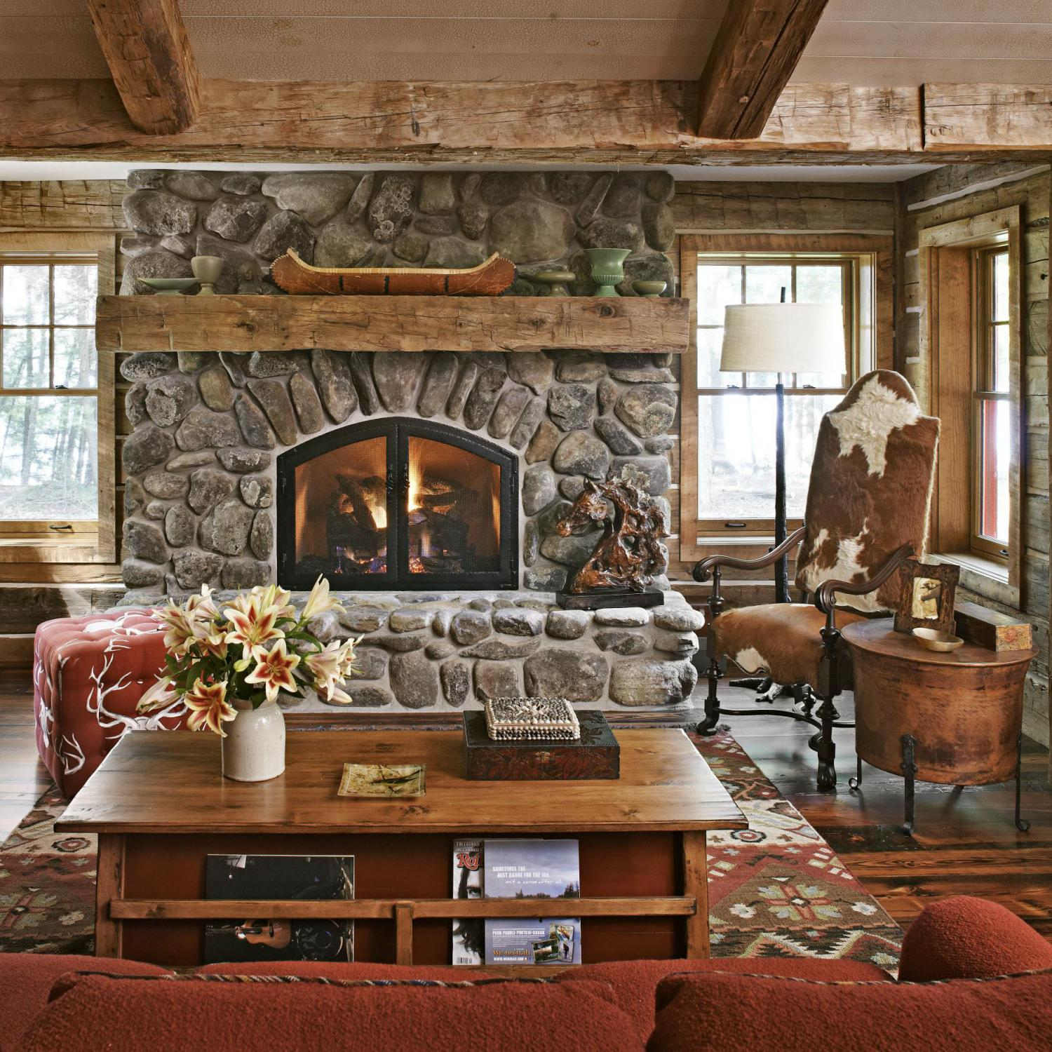 get the look rustic mantels traditional home rh traditionalhome com Modern Fireplace Mantels Log Cabin Fireplace Mantels