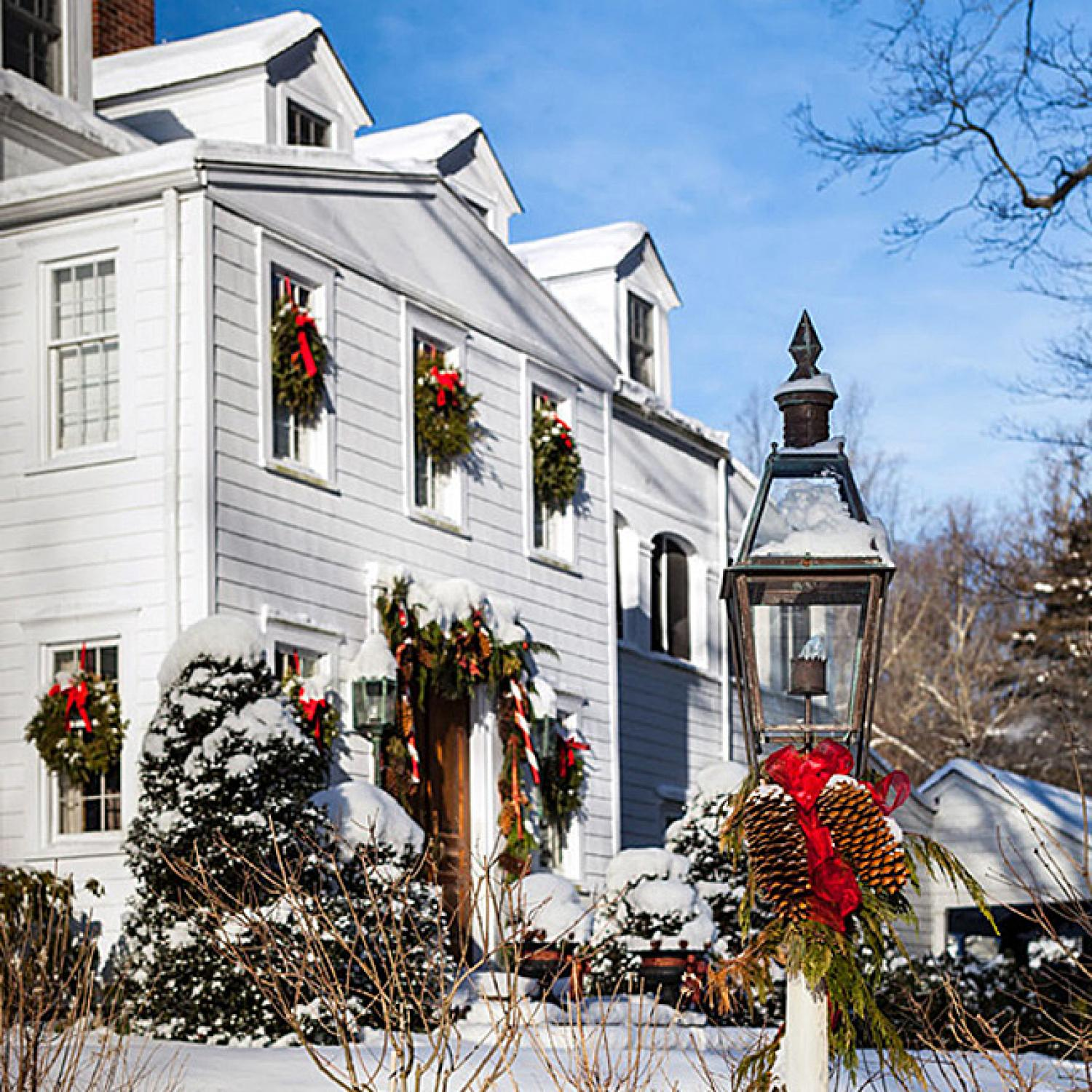 Christmas in a new england clapboard traditional home for New traditional house