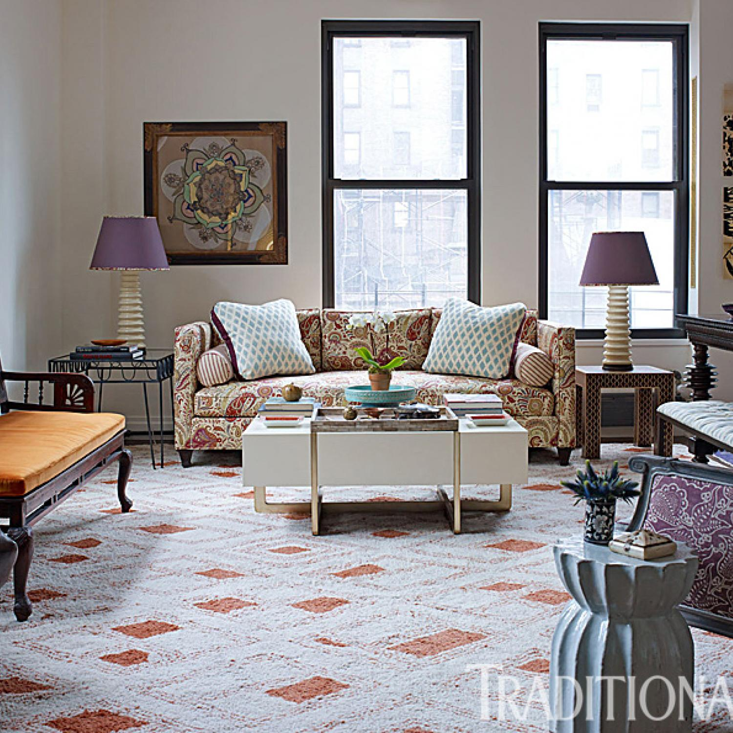 New york city loft with bold pattern traditional home arubaitofo Gallery