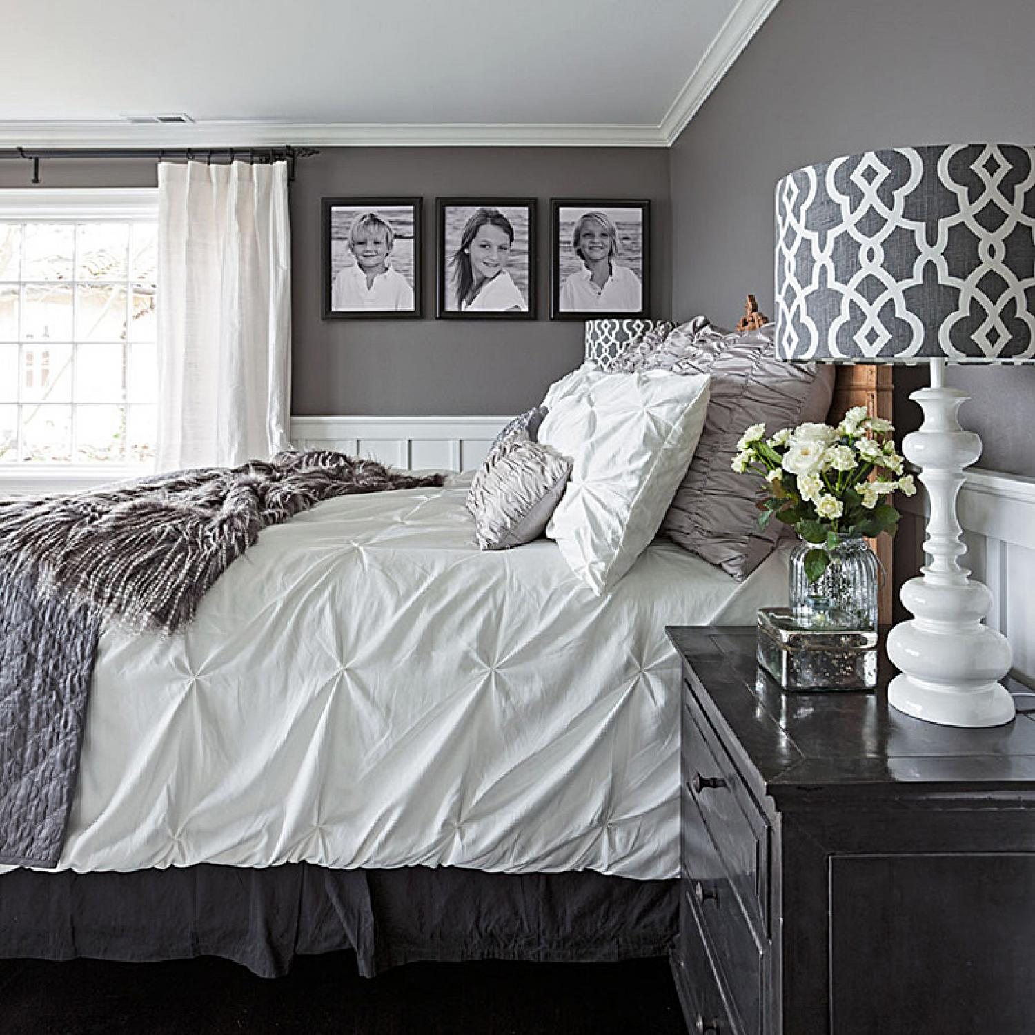 Gorgeous gray and white bedrooms traditional home - How to decorate a gray living room ...