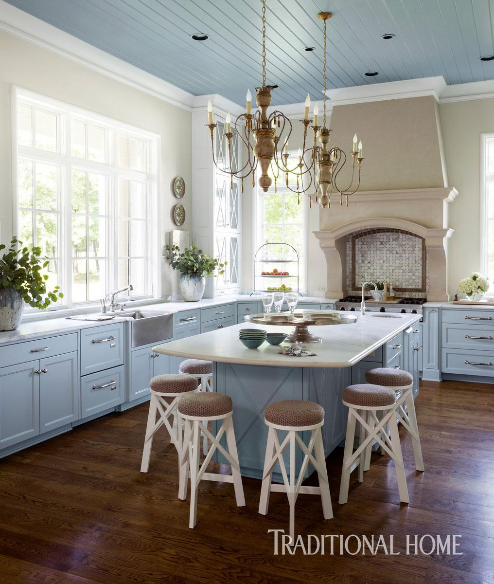 beautiful blue kitchen  arkansas traditional home