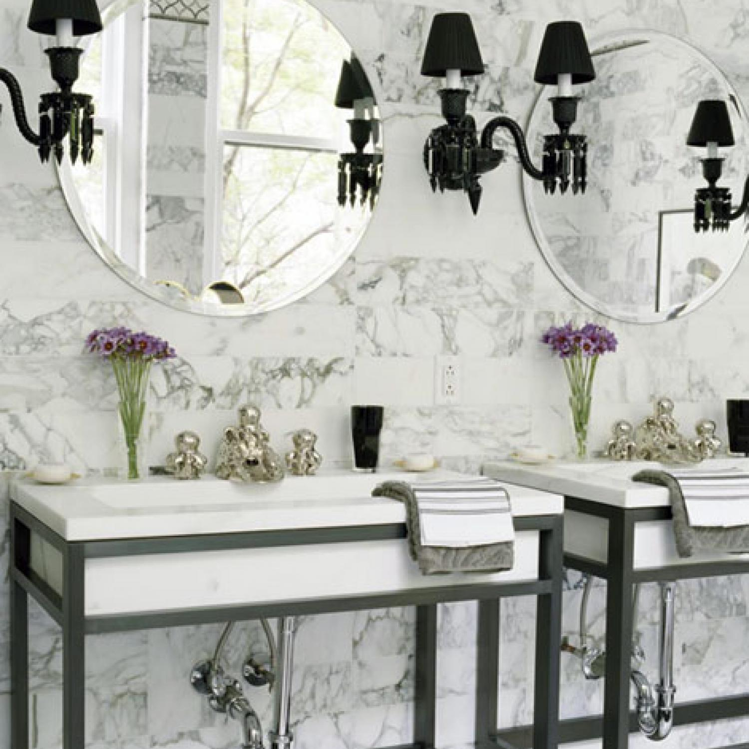 Bathroom Chandeliers Black beautiful black-and-white bathrooms | traditional home