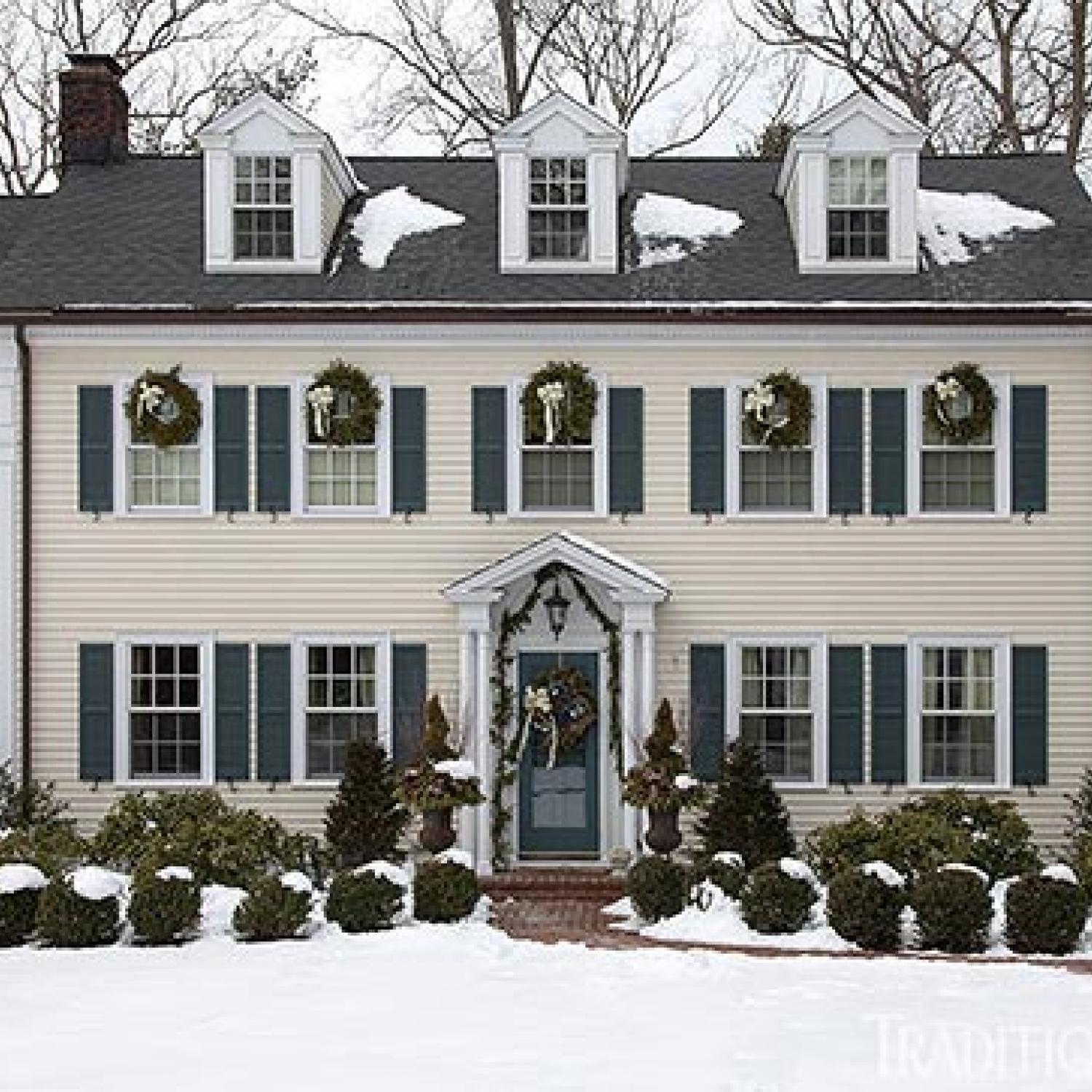 New england home with hushed holiday palette traditional for Classic new england home designs