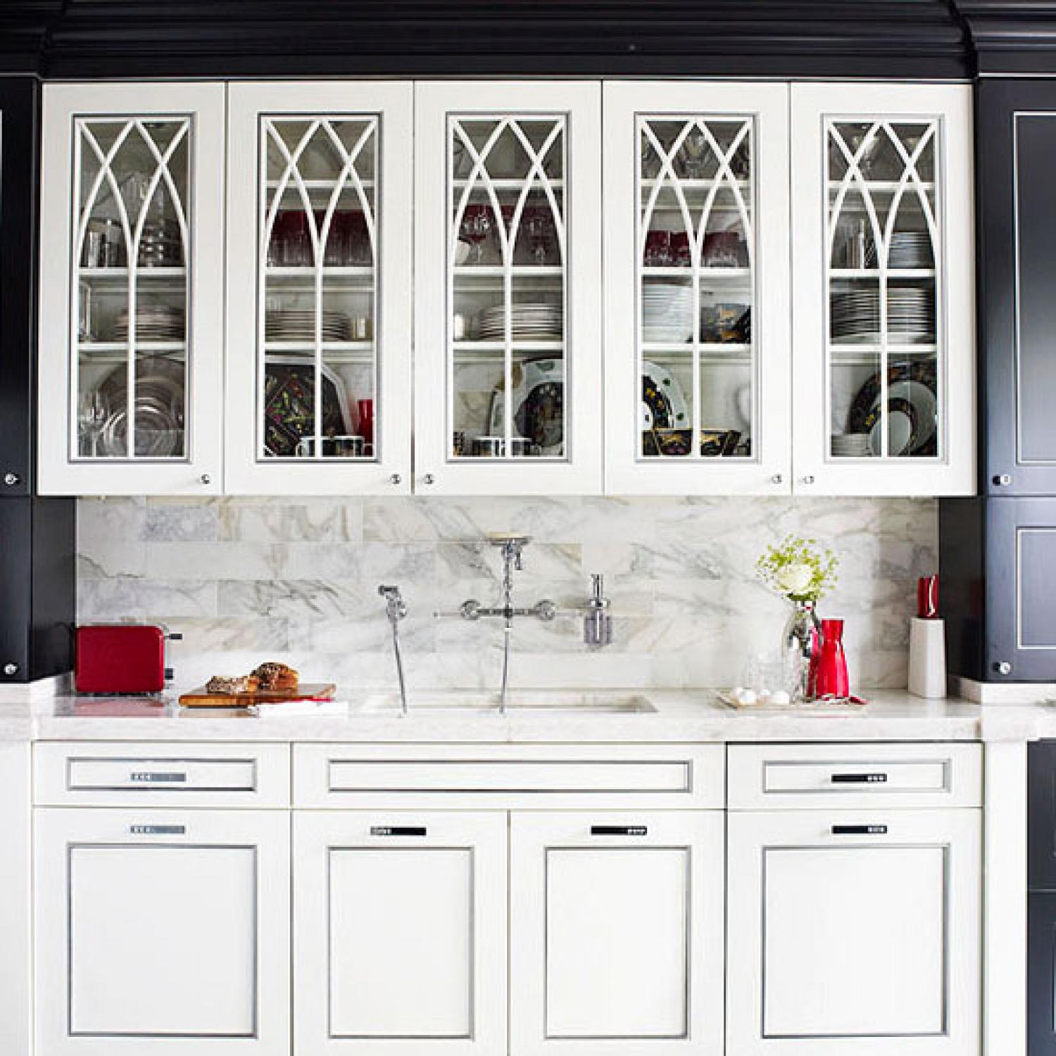 Distinctive kitchen cabinets with glass front doors traditional home eventelaan Images