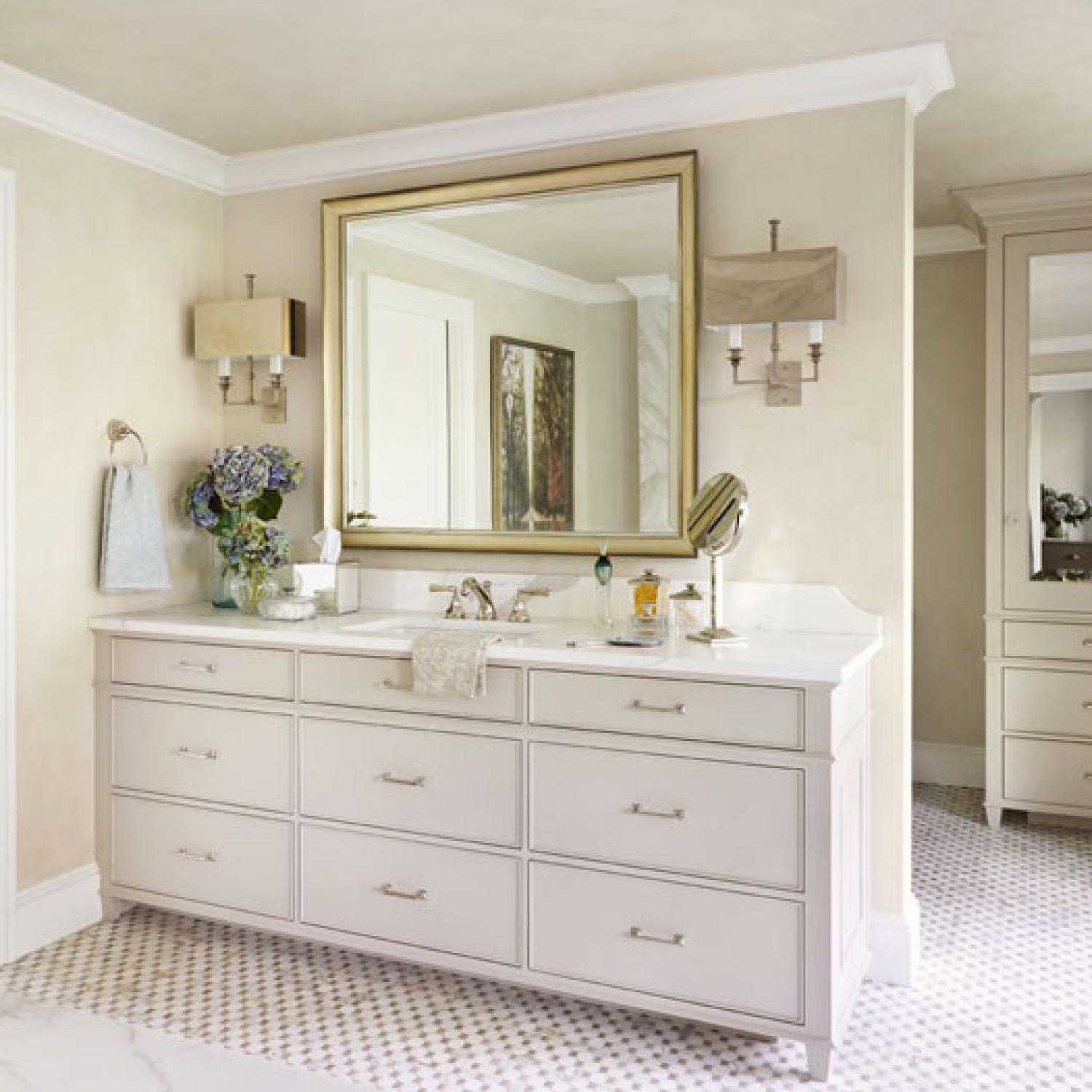 Decorating bath vanities traditional home - How to redo bathroom cabinets for cheap ...
