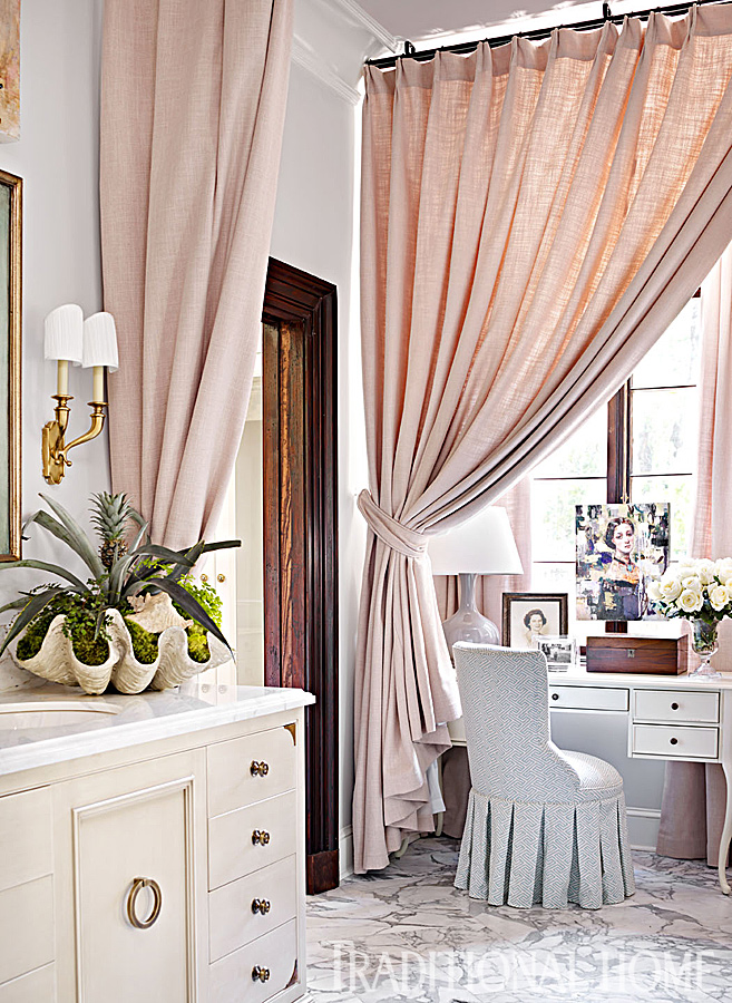 The Genevieve Desk And Francie Swivel Chair From Ballard Designs Snuggle Into A D Window Niche
