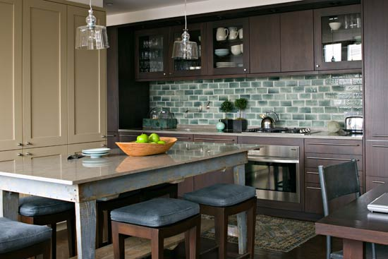 Rustic Subway Tile Backsplash Handcrafted Blue Gray Tiles With A Le Finish Accent The Kitchen S Cooking Wall Where Contemporary Brown Cabinets