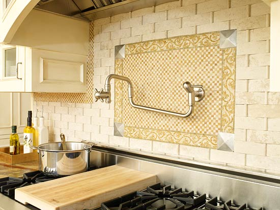 Enlarge Limestone Tile Backsplash Paired With Ivory Cabinets