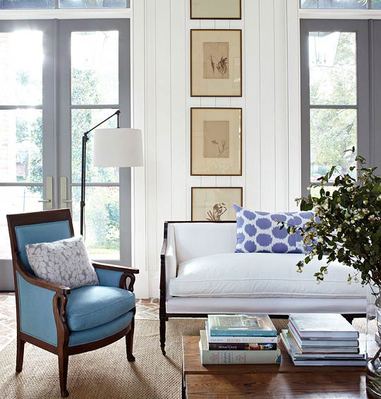Blue And White Living Room With Complementary Neutrals