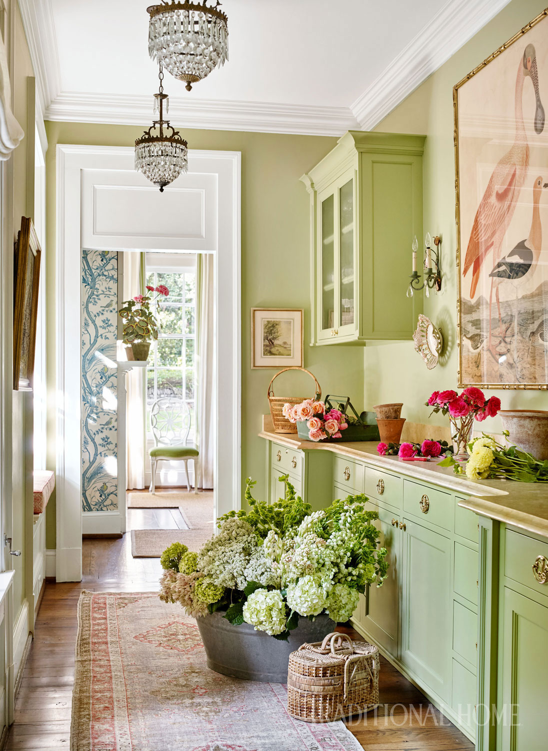 Bunny loves spending time in this colorful nook, where she prepares lavish flower arrangements for the dinner parties and fund-raising events she hosts at her home.