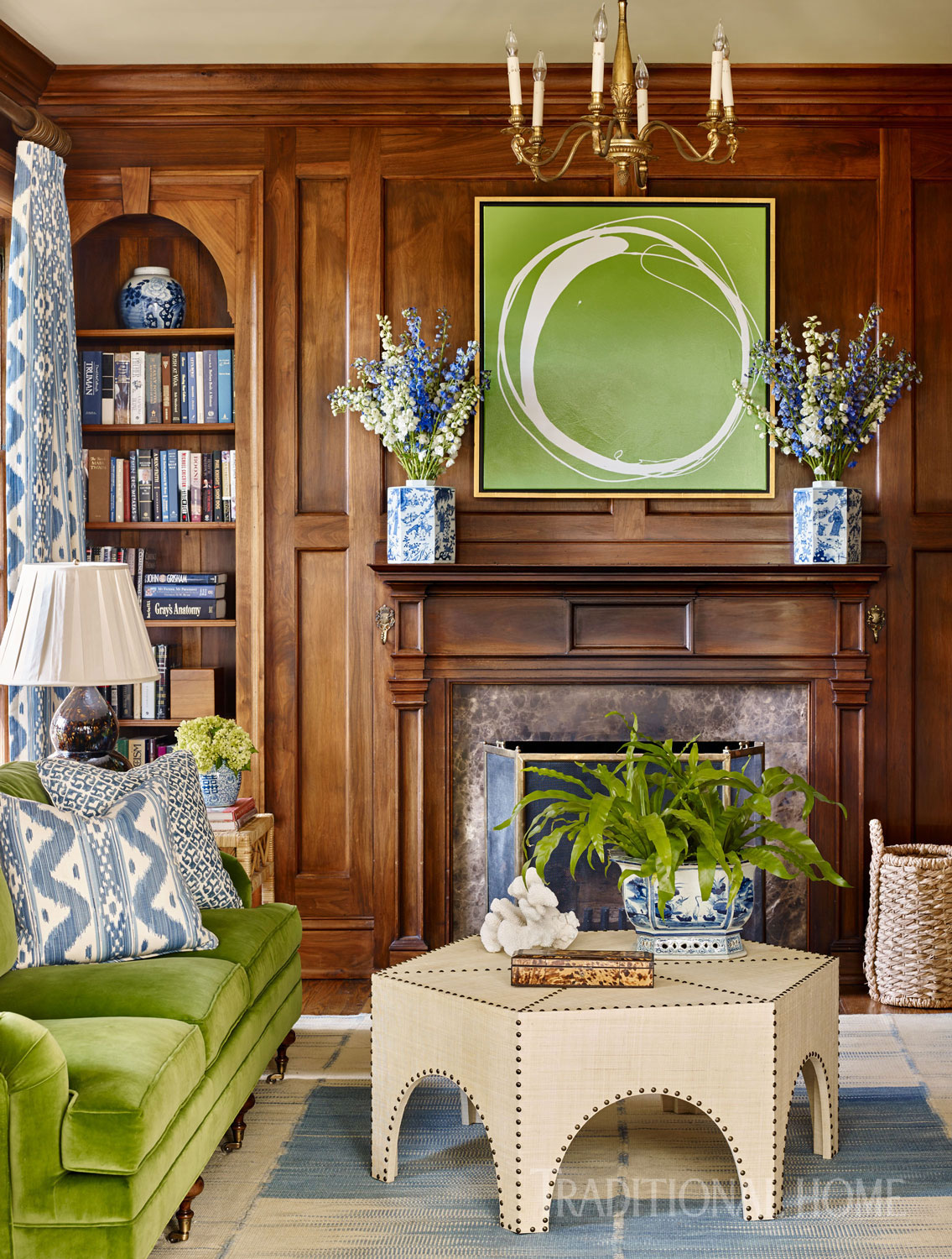 Fresh greens in art and upholstery bring energy to Mike's favorite retreat.