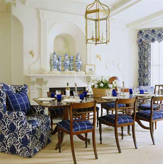 Dramatic Dining Room In Blue