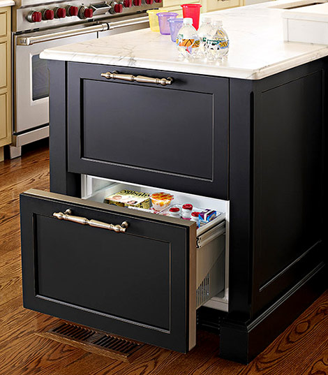 Housing A Set Of Refrigerator Drawers In An Island Extends The Amount Cold Storage Without Carving Out E For Second Full Size Fridge