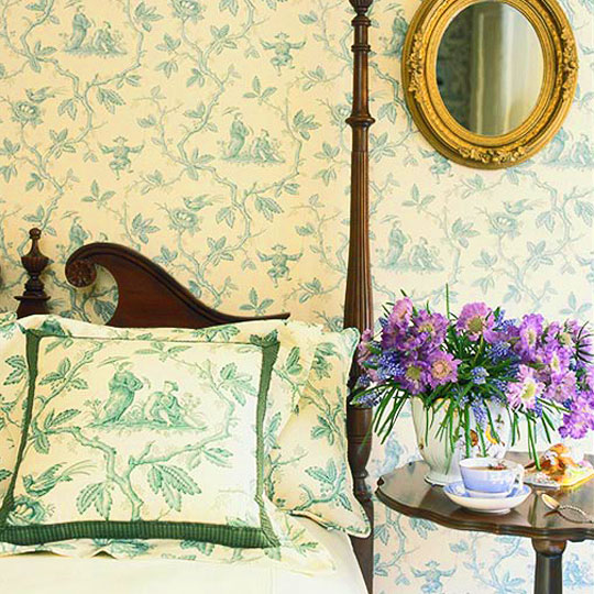 Chinese Patterns Are A Mainstay Theme Of Toile Fabrics The Pattern Shown Here Becomes Especially Pretty With Its Birds And Nests Leafy Branches
