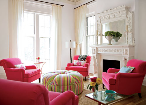 Living Room With Green And Pink