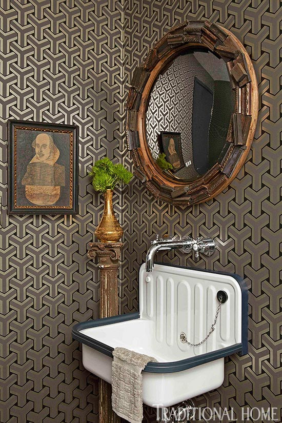 Enlarge Dark And Dramatic Powder Room