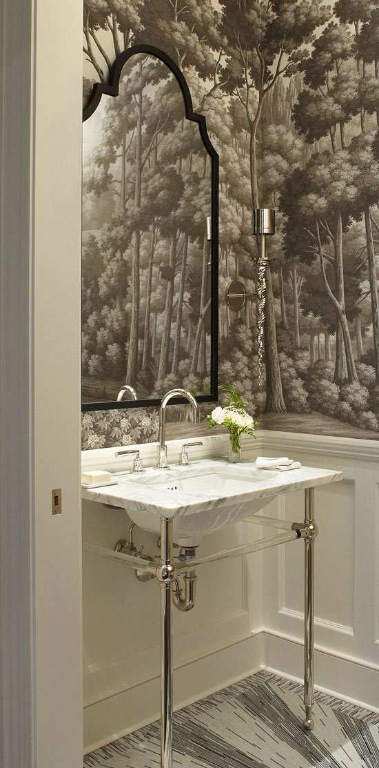 Enlarge Powder Room With Large Pattern Wallpaper